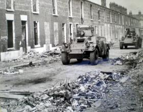 Ferret armoured cars patrol the streets of Belfast, 1973.