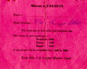 Boarding/Muster card for HMS Theseus