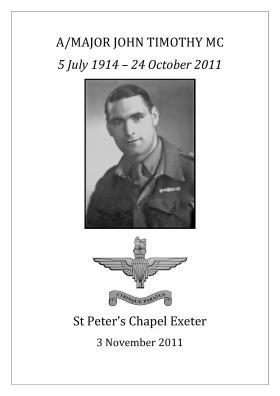 Order of service booklet for Maj John Timothy's funeral 3 November 2011