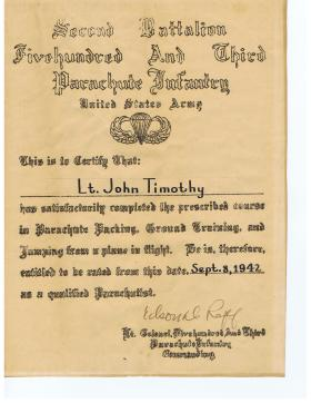 The 1st American Jump Wings Certificate issued to a British Para - Lt John Timothy