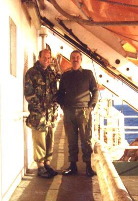 Rev David Cooper and Tom Godwin, 2 PARA, MV Norland, 1982