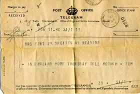 Telegram sent by Sgmn Stevens following his return from Normandy, September 1944.