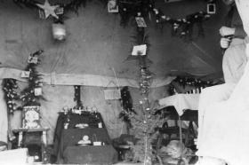 View inside tented accommodation, Palestine, Christmas 1945.