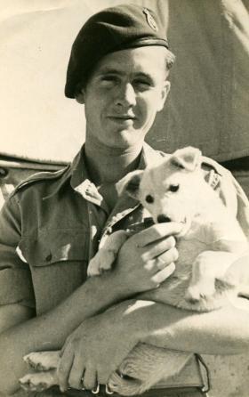Sgmn Tom Stevens with Kim, Palestine, 1946.