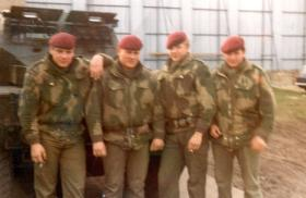 Members of 3 PARA, in front of a Humber Pig, Belfast, 1973.