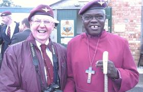 The Archbishop of York and Tony Costello, Airborne Forces Day, Eden Camp, 2010