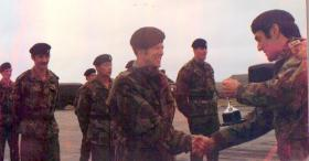Tony Johnson, presented with the Craven Cup by Major Craven, c1979.