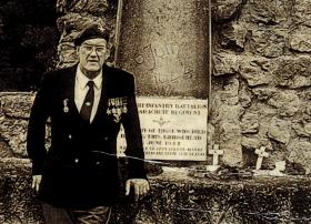 Tony Lycett at the 7th Battalion War Memorial in Normandy