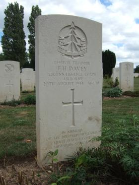 Headstone of Tpr FH Davey, La Delivrande War Cemetery, August 2010.