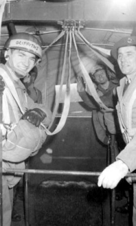 Pte Alan Griffiths on his parachute jump training course, Oct/Nov 1966.