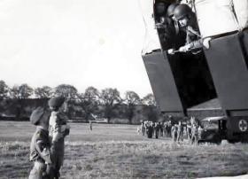 Colour Sgt John Hocknull shows his son John Hocknull Jnr the training at RAF Abingdon, 1951.