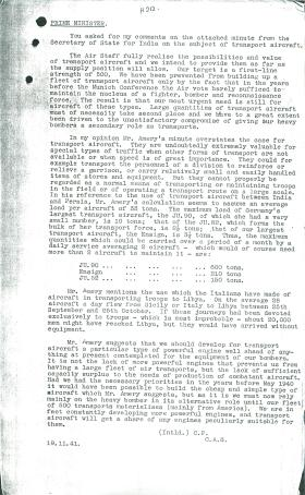 Copy of letter to Churchill on transport aircraft. Dated November 19th 1941.