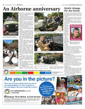 Newspaper article from the Cornish West Briton on Trebah Military Day 2012