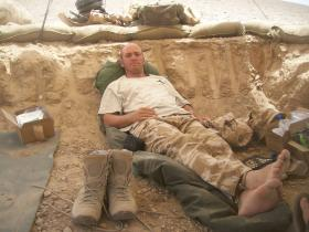 Cpl Connolly, Trench-life, Helmand Province, summer 2008.