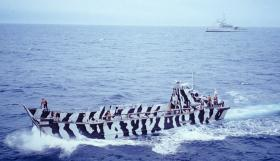 Training in the LCUs at Ascension Island, May 1982.
