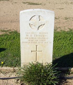 W B Tromans grave at Waynes Keep, 2014.