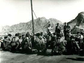 Troop briefing onboard HMS Bulwark, Aden, 1967