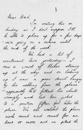 Copy of letter sent by Spr Wolfe to his father about a Hang Up, undated.