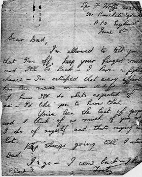 Letter sent by Spr Frank Wolfe to his father before Normandy, 5 June 1944.