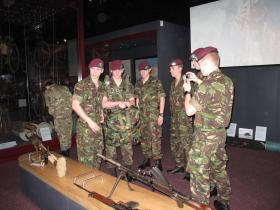 Soldiers from Falklands Platoon, ITC Catterick, hands on with old and new equipment, Airborne Assault, Duxford, Jan 2012.