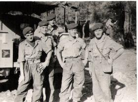 Troop Sergeant Major Stan Barker with members of C Troop, Cyprus 1956