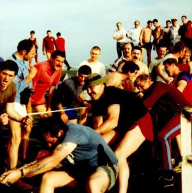 The HQ COY team, winners of the Tug of War competition, 2 PARA Sports Day, MV Norland, 1982