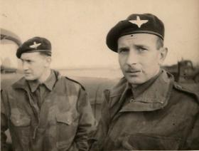 Two paratroopers pictured on exercise, c.1940s