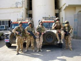 Members 2 PARA, Sniper Patrol with Snatch Land Rovers, Iraq, 2005.