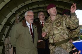 Sergeant Jim Kilbride and Bernard Cribbins in the Merville Barracks  Gate Guardian Datoka, 15 January 2016.