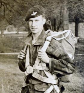 Brian M Riordan during his basic parachute course at Upper Heyford March 1948