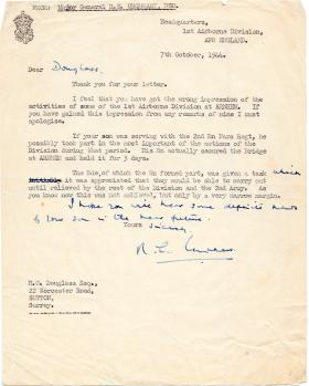 Letter to the parents of Lt Douglass from Major General Urquhart, 7 October 1944.