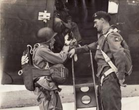 Lt John Timothy with a US paratrooper from 2nd/503rd and mascot, September 1942
