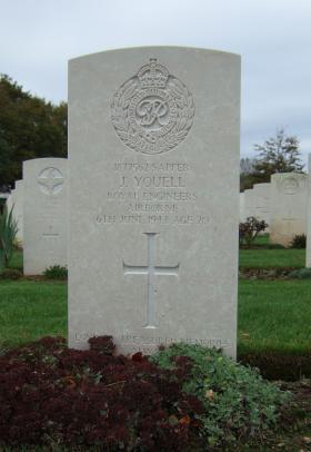 Headstone of Sapper John Youell, RE, taken October 2011.