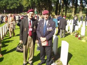 Veteran Les McCreesh with Bob Hilton at 60th Anniversary, Oosterbeek Cemetery Arnhem 2004