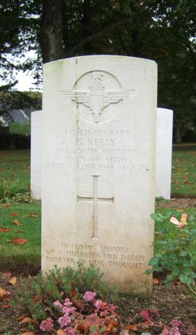 Headstone of Sgt George Kelly, Ranville Cemetery, in October 2014.