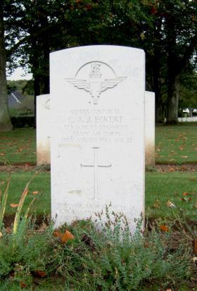 Headstone of Cpl C Eckert, Ranville Cemetery, taken October 2014.