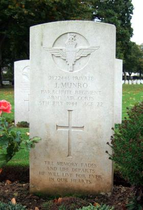 Headstone of Pte Jack Munro, Ranville Churchyard, August 2010.