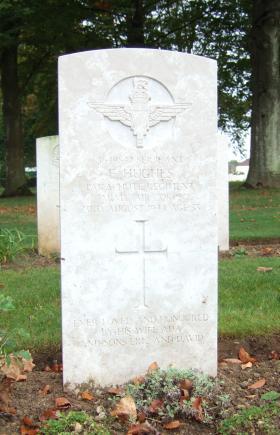 Headstone of Sgt E Hughes, Ranville Cemetery, taken October 2014.