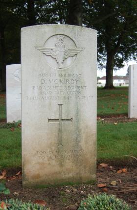 Headstone of Sgt D McKirdy, Ranville Cemetery, taken October 2014.