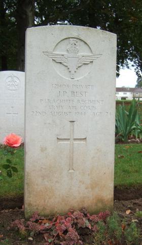 Headstone of Pte Best, Ranville Cemetery, taken October 2014.