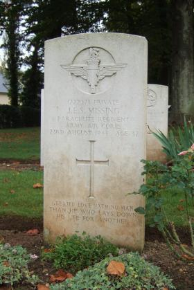 Headstone of Pte J Missing, Ranville Cemetery, October 2014.