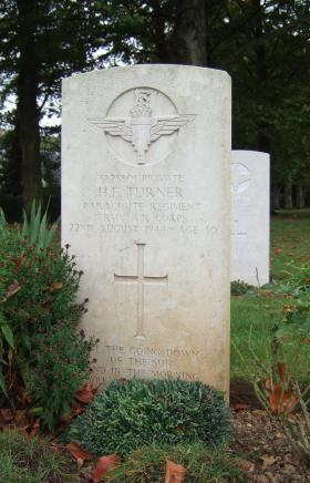 Headstone of Pte Turner, Ranville Cemetery, taken October 2014.