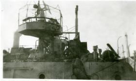 Damaged 20mm Oerlikon Gun on the HMIS Hindustan, Karachi, 1946