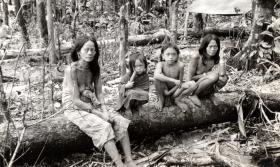 Punan villagers photographed by Lt Chris Johnson, Borneo, 1965.