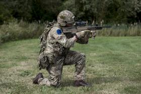 A soldier from 2 PARA adopts a firing pose wearing VIRTUS kit and equipped with a prototype SA80A3, September, 2016.