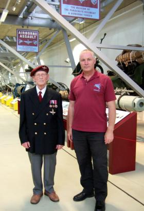 Charles Guscott with Bob Hilton at the Airborne Assault Museum, Duxford, 14 June 2014.