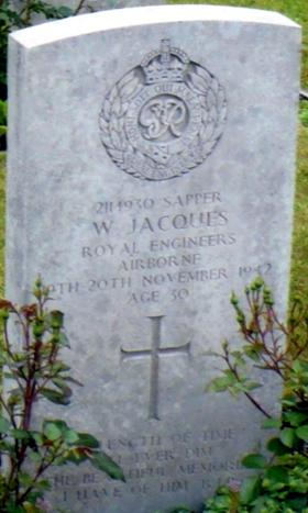 Headstone of Sapper William Jacques, Eiganes Churchyard, Stavanger, Norway.