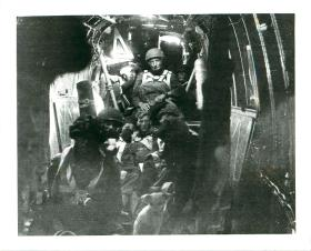 Men of 2nd Parachute Battalion inside a Halifax aircraft in Palestine, 1946.