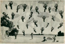 Cartoon of parachuting instructors and staff at  Ringway, February 1944.