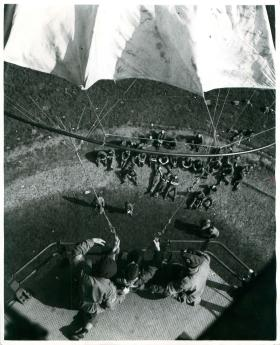 Recruit about to jump from a parachute tower possibly at Ringway.